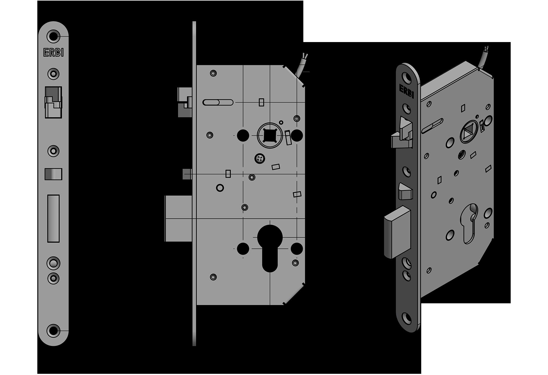 Samozamykací zámek ERBI rozteč 72mm, osa 55mm, elektromechanický